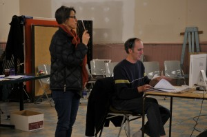 Composer Don Macdonald and librettist Nicola Harwood driecting a rehearsal of thier new opera, KHAOS